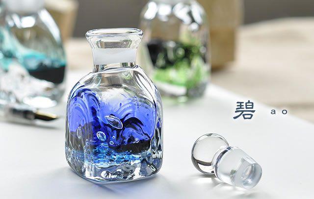 Pent×色工房 インク壺 渓流 スクエア 碧(あお)