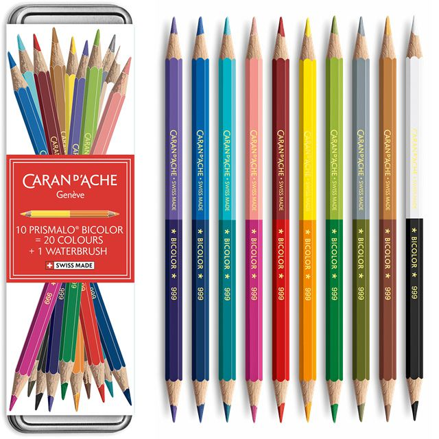 カランダッシュ 水溶性色鉛筆 クリスマスコレクション2019 ギブ・ア・リトル・ジョイ プリズマロ(R) バイカラーセット 20色(缶入)