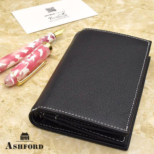 ASHFORD(アシュフォード) システム手帳 ディープ MICRO5 8mm+名刺入れ ネイビー